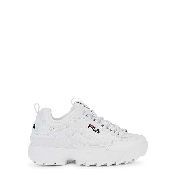 Disruptor II white leather sneakers