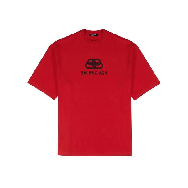 2f4ba702 Balenciaga Red Logo-Print Cotton T-Shirt   ModeSens