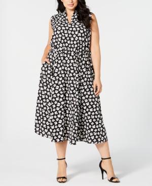 Plus Size Sleeveless Printed Midi Dress In Anne Black/white