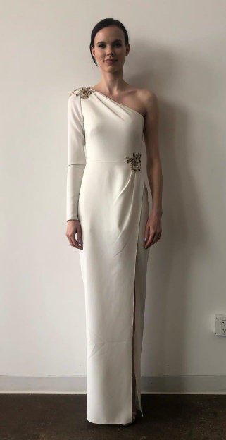 6e3b9fdf Marchesa Notte One Shoulder Stretch Crepe Gown N35G1078 In Ivory ...