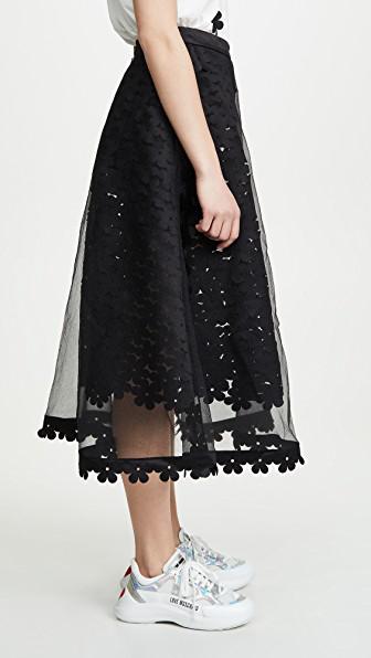 2770ce3905 Paskal Double Layered Laser Cut Skirt In Black   ModeSens