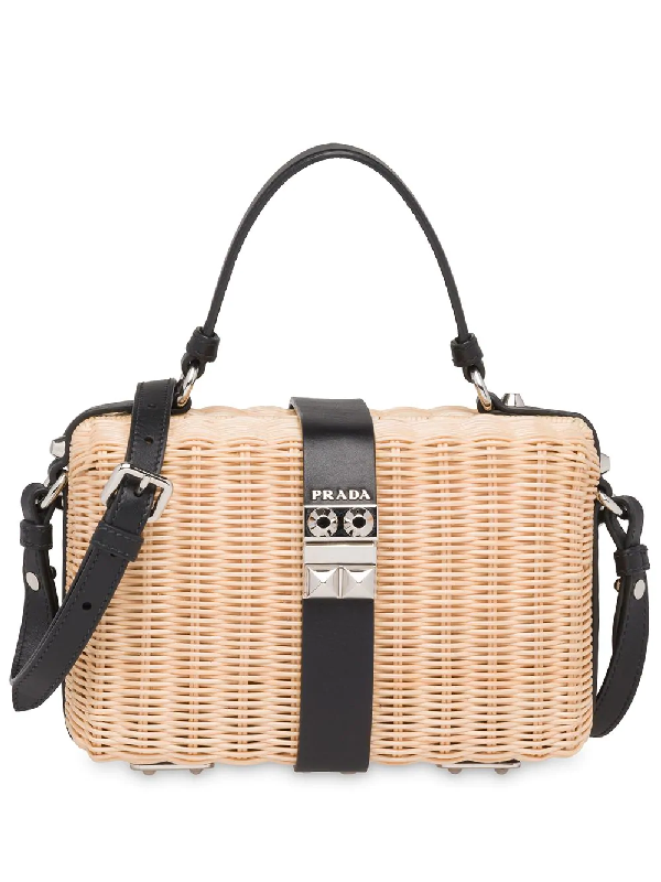d09d54628851c4 Prada Woven Wicker Basket Crossbody Bag In Neutrals | ModeSens