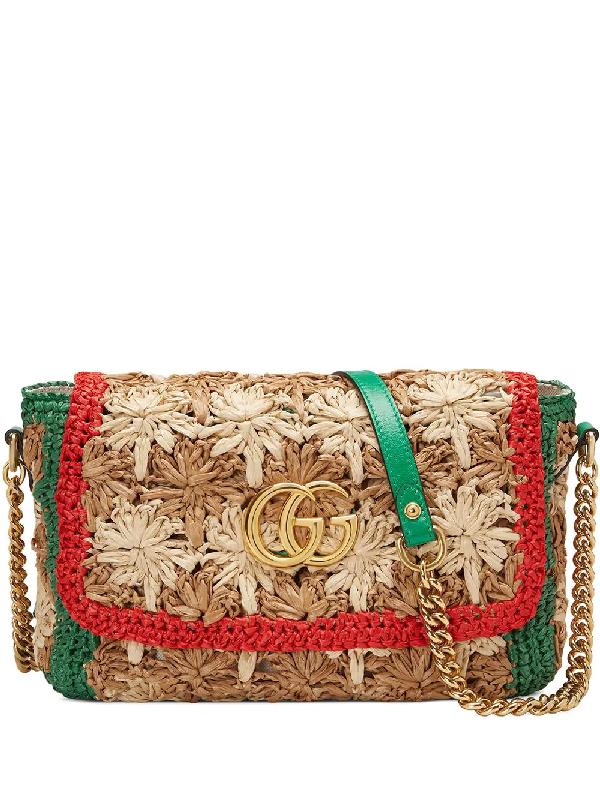 a2444c0806f7 Gucci Gg Marmont 2.0 Small Raffia Shoulder Bag In Multicolour   ModeSens