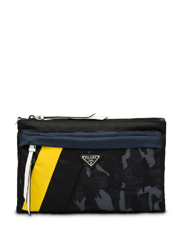 4f93185e56fc Prada Camouflage Pouch - Blue In F0Ysj Camouflage Blue/Yellow   ModeSens
