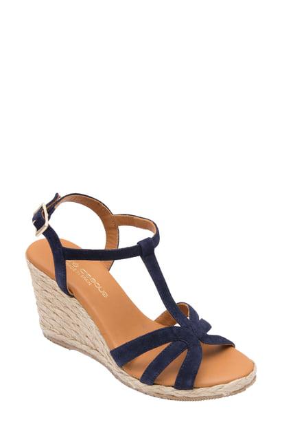 reasonable price half off aliexpress Women's Madina Suede T-Strap Espadrille Wedge Sandals in Navy Suede