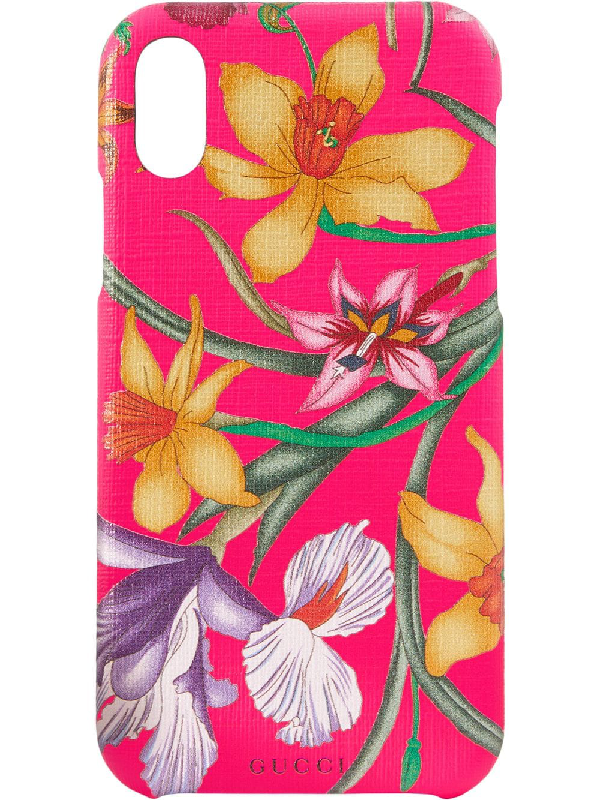 GUCCI GUCCI IPHONE X CASE WITH FLORA PRINT - PINK