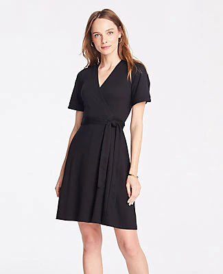 27db86e605 Ann Taylor Petite Piped Flutter Sleeve Wrap Dress In Black | ModeSens