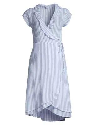5230a37e17 Rails Louisa Pinstripe Linen-Blend Wrap Dress In Bluebell   ModeSens