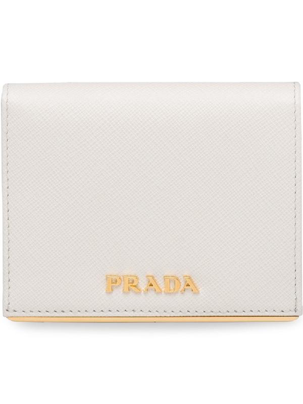ecff668f2ecea5 Prada Small Saffiano Leather Wallet - White | ModeSens