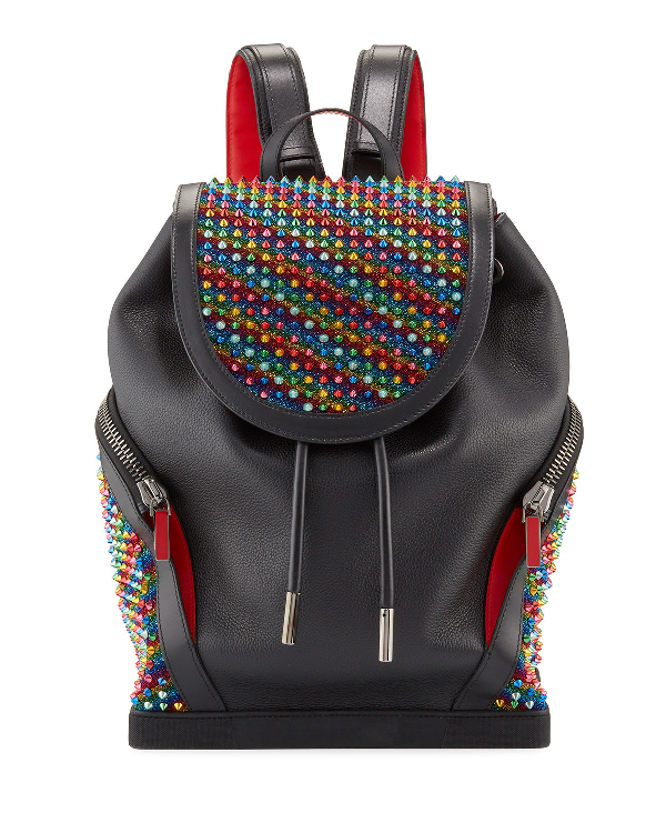 ecfb3506ddf Men's Explorafunk Rainbow Spiked Leather Backpack in Black
