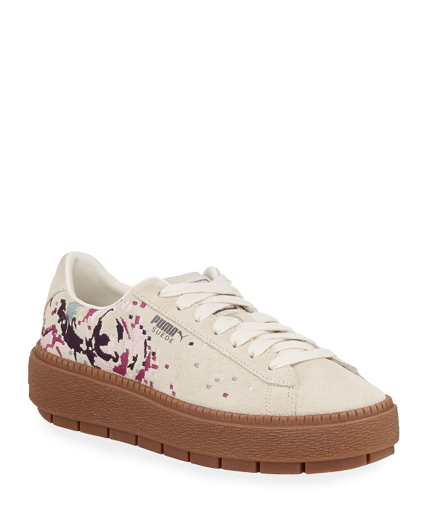 Basket Low Top Suede Digital Embroidered Platform Sneakers in Whisper White