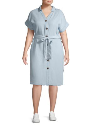 Abs By Allen Schwartz Plus Self-Tie Button Front Dress In Light Wash