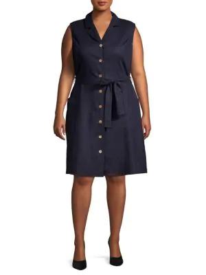 Abs By Allen Schwartz Plus Sleeveless Button-Front Dress In Medium Navy