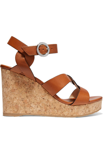 e0aa3f1502 Jimmy Choo Aleili Vachetta Leather Cork Wedge Sandals In Tan | ModeSens
