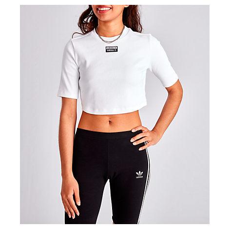 fa6297c4ed3 Adidas Originals Women's Originals Tropicalage Crop T-Shirt, White ...