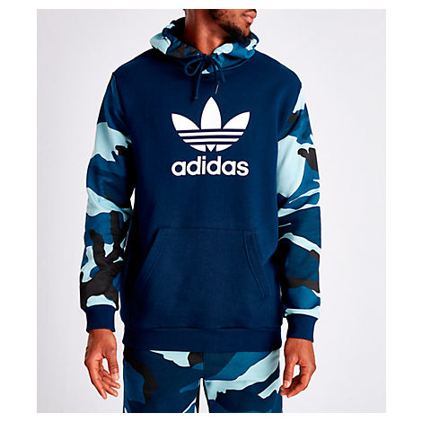 Adidas Men's Originals Camouflage Hoodie In Blue Size Small 100% Cotton