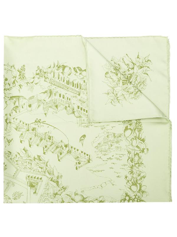 294666b2208 Hermes HermÈS Pre-Owned Au Pays De Cocagne Print Foulard - Green. Farfetch