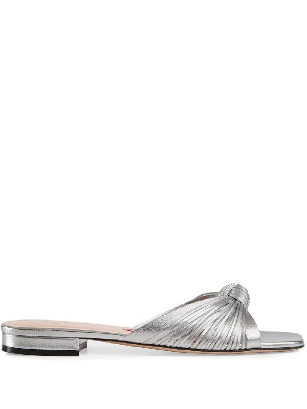 b3019325e Gucci Metallic Leather Slide Sandal - Silver In Gray