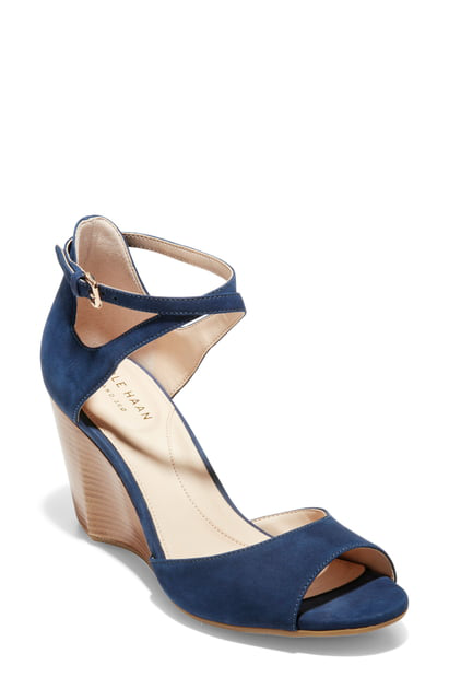 bc54a0b805 Cole Haan Sadie Grand Wedge Sandal In Marine Blue Nubuck Leather ...