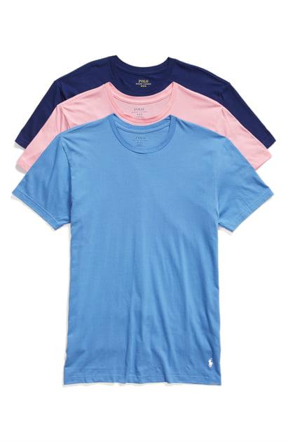 0d81deda1 Polo Ralph Lauren 3-Pack Crewneck T-Shirts In Blue/ Harbor Pink/ Roy ...