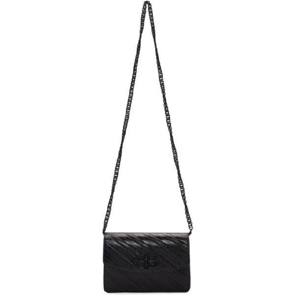 bd2a9e91b54 Balenciaga Bb Logo-Embossed Leather Wallet On Chain In Black | ModeSens