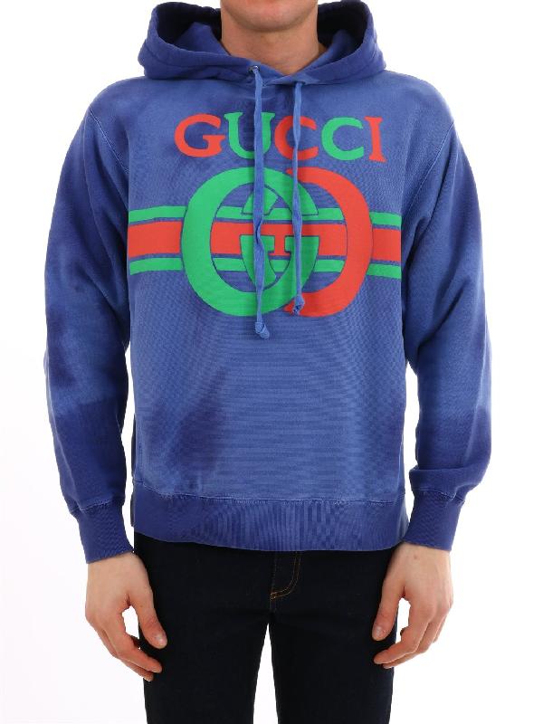 04e7214fc2 Gucci Gg Interlocking Print Sweatshirt In Blue. CETTIRE