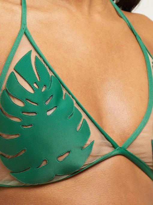 Adriana Degreas X Cult Gaia Leaf-AppliquÉD Tulle Bikini In Green