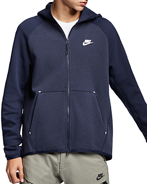 Nike Tech Fleece Color Block Hoodie In Twilight Marsh Black Black Modesens