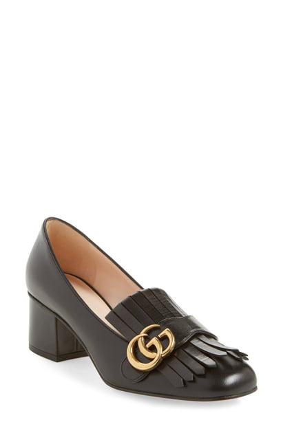 1879cc074e9c Gucci Marmont 55 Leather Mid-Heel Loafers In Black | ModeSens