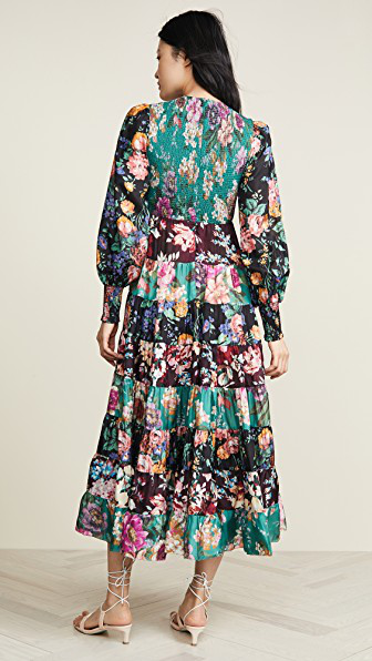 Zimmermann Allia Floral-Print Long-Sleeved Silk-Satin Maxi Dress In Emerald