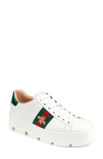 e36f9a1fe Gucci Ace Embroidered Platform Sneakers In White | ModeSens