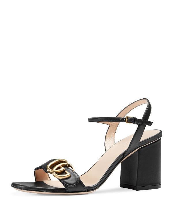 4565b8945 Gucci Marmont Logo-Embellished Leather Sandals In Black | ModeSens