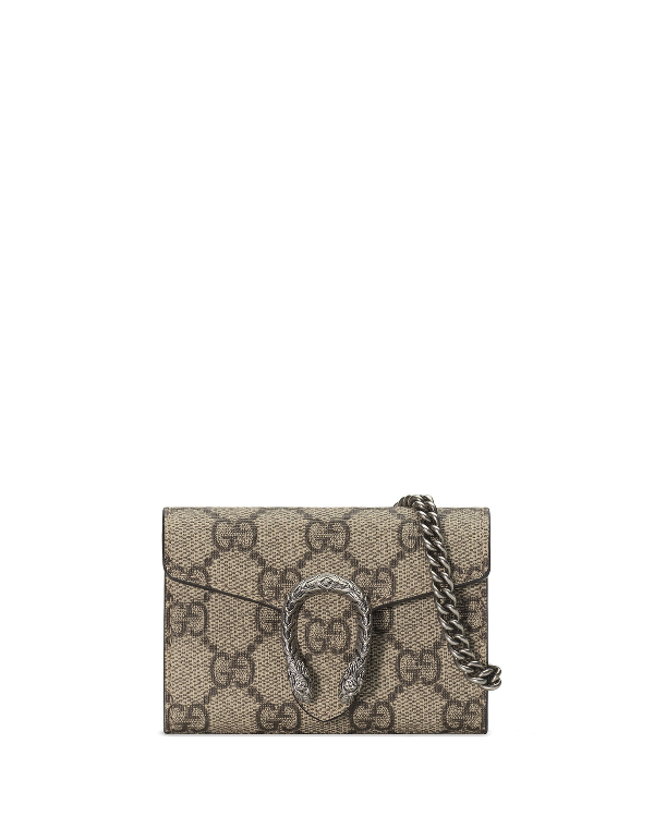 c79f42255 Gucci Dionysus Gg Supreme Canvas Coin Purse On A Chain - Beige In Grau