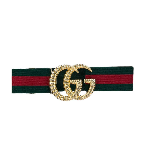 Gucci Piccadilly Moon Elastic Web Belt W/ Textured Gg Buckle In Green