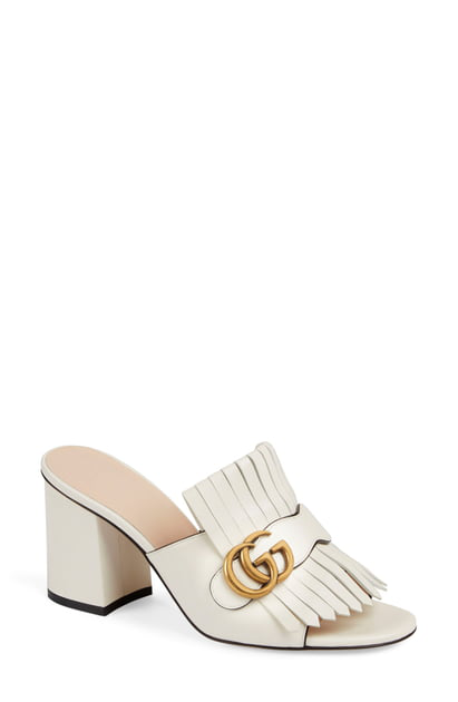 Gucci Leather Mid-Heel Slide With Double G In White