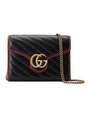 57b584338619 Gucci Gg Marmont Torchon Wallet On Chain In Black | ModeSens
