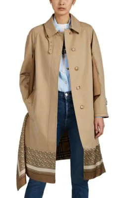 d3669443c65fc7 Burberry Printed Silk-Paneled Cotton-Gabardine Trench Coat In Beige ...