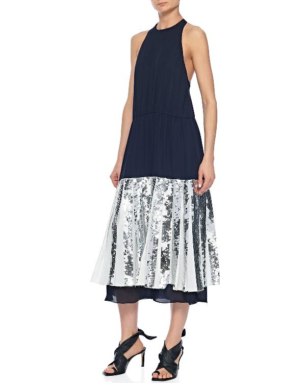 0829a637 Tibi Claude Sequin Layered Silk Midi Dress In Black   ModeSens