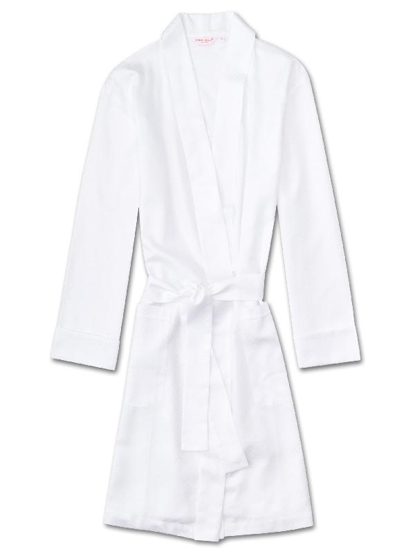 Derek Rose Women's Dressing Gown Kate 2 Cotton Jacquard White