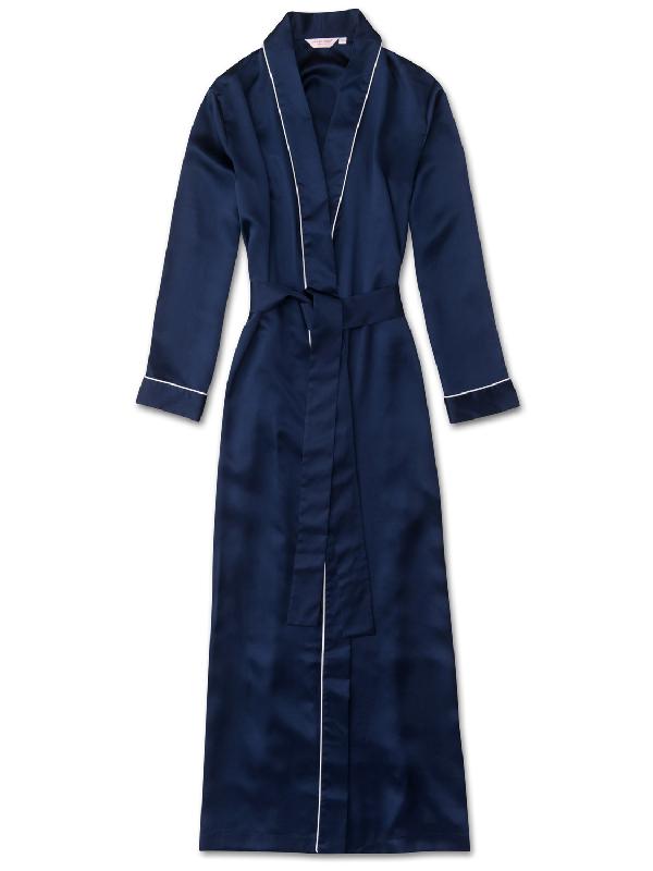DEREK ROSE DEREK ROSE WOMEN'S FULL LENGTH DRESSING GOWN BAILEY PURE SILK SATIN NAVY,1259-BAIL001NAV