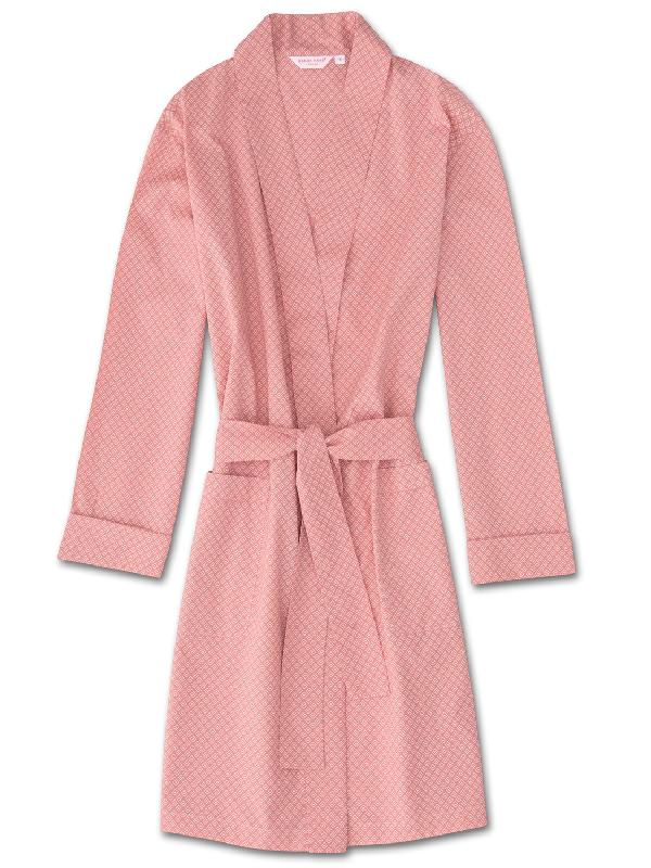 Derek Rose Women's Dressing Gown Nelson 66 Cotton Batiste Pink