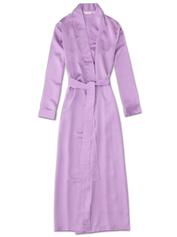 Derek Rose Women's Full Length Dressing Gown Bailey Pure Silk Satin Lilac