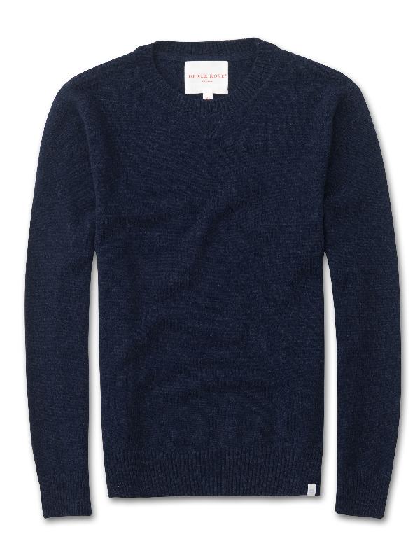 Derek Rose Women's Cashmere Sweater Finley Pure Cashmere Midnight