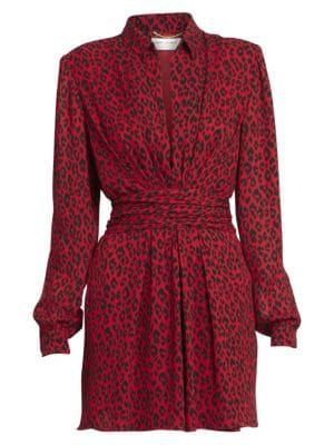 a6e1d582f6fc55 Saint Laurent Leopard-Print V-Neck Collared Dress In Rouge. Saks Fifth  Avenue
