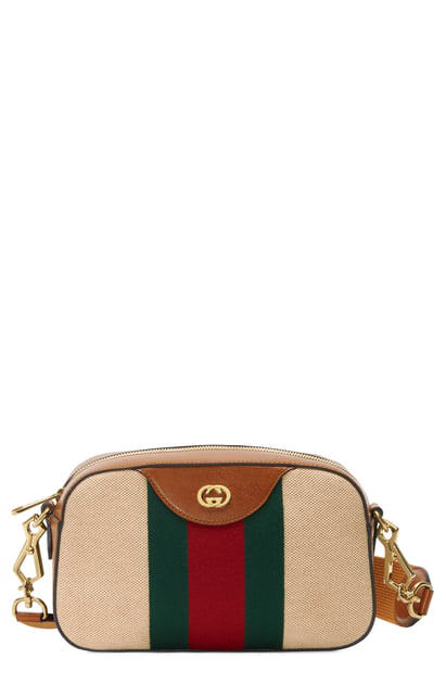 eadbf7088238 Gucci Gg Vintage Canvas Web Stripe Messenger Bag In Sand/ Cuir/ Vert Red.  Nordstrom