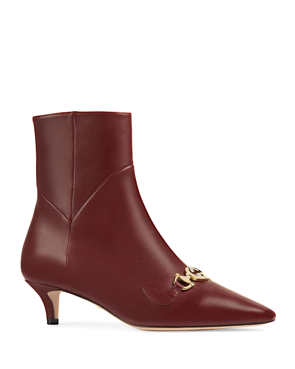 af0b8d24db5 Gucci Zumi Napa Point-Toe Booties With Gg Horsebit In Vintage Bordeaux