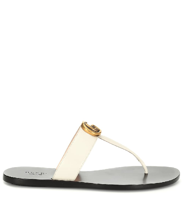 Gucci Marmont Leather Sandals In White