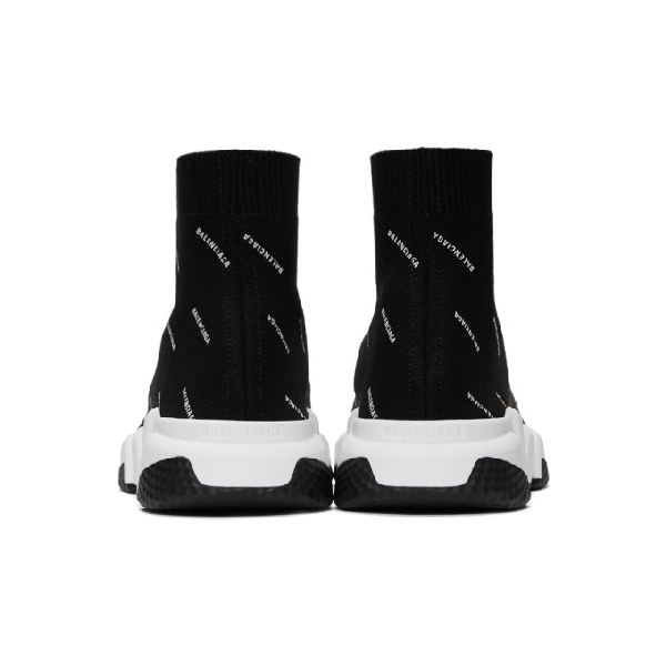 Balenciaga Men's Speed Signature Mid-Top Trainer Sock Sneakers In Black