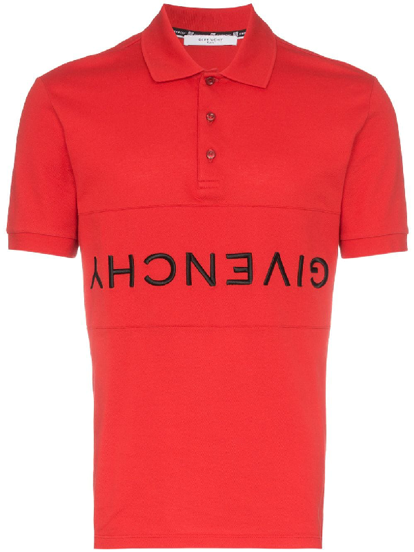 c037487e Givenchy Slim-Fit Logo-Embroidered Cotton-PiquÉ Polo Shirt In Red ...