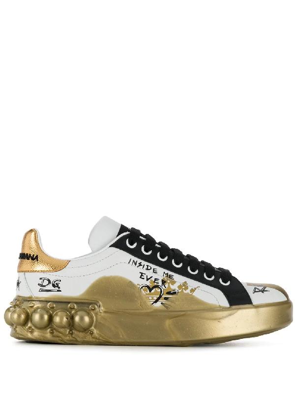 4750366b65 Dolce & Gabbana 20Mm Portofino Graffiti Leather Sneakers In White ...